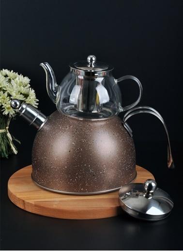Bayev Granit Düdüklü Cam Çaydanlık-200601 Kahve